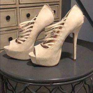 Blush platform heels